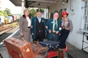 Railway volunteer Herbie Bodel with Anne Rowney and Marisa Murphy of Fashion Forum arrive at Downpatrick Railway Station in their Singer Vogue 1964 and Singer Super 1947. Photo (c) Down News Looking over the new £700,000 visitors' centre at the Downpatrick and County Down Railway are Patricia McGrath, secretary of the Downpatrick and County Down railway, Philip Campbell, Magnus Vikings Association, Sally Shields and Down District Councillor Patsy Toman. Photo (c) Down News