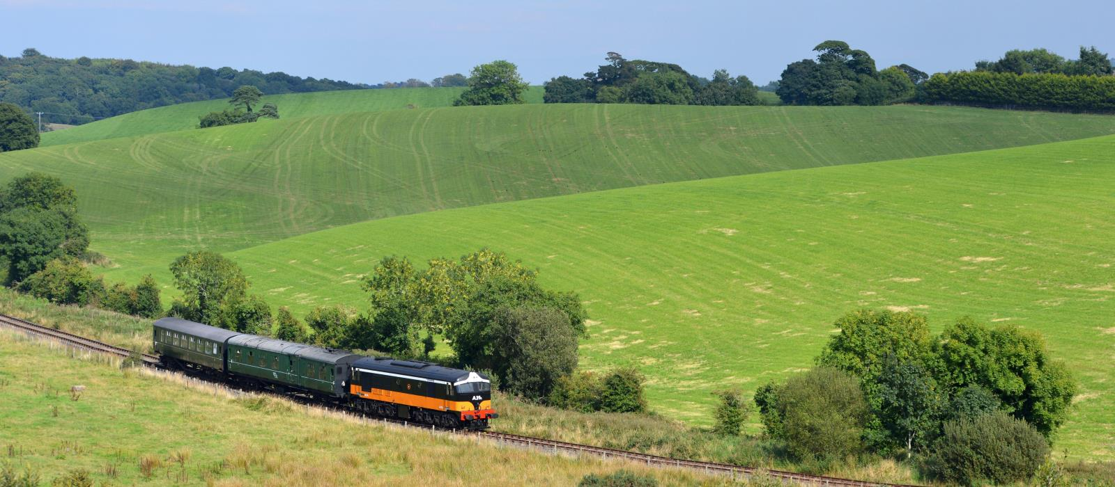 A classic diesel locomotive, A39R from the Irish Traction Group, running on the Inch Abbey line.