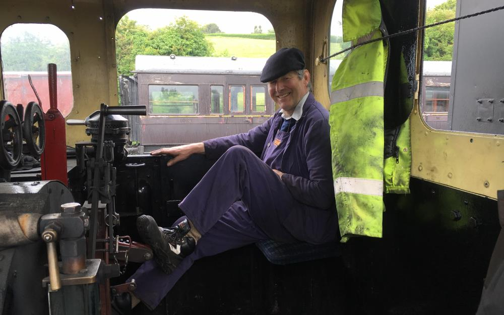 Steam driver Jeff, comfortable on the footplate of O&K No. 1