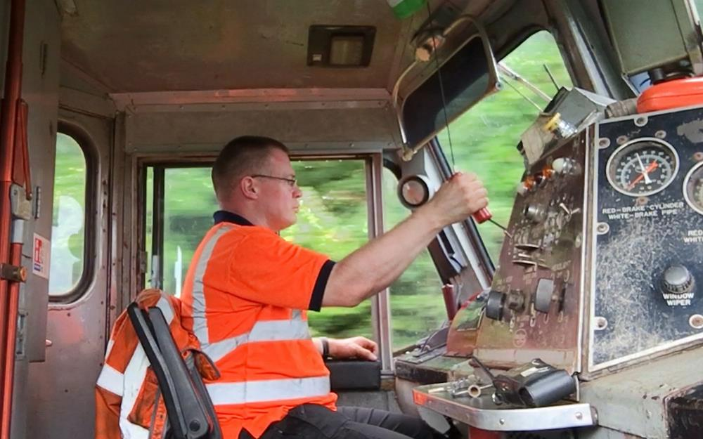 Diesel driver Mike, taking his job very seriously