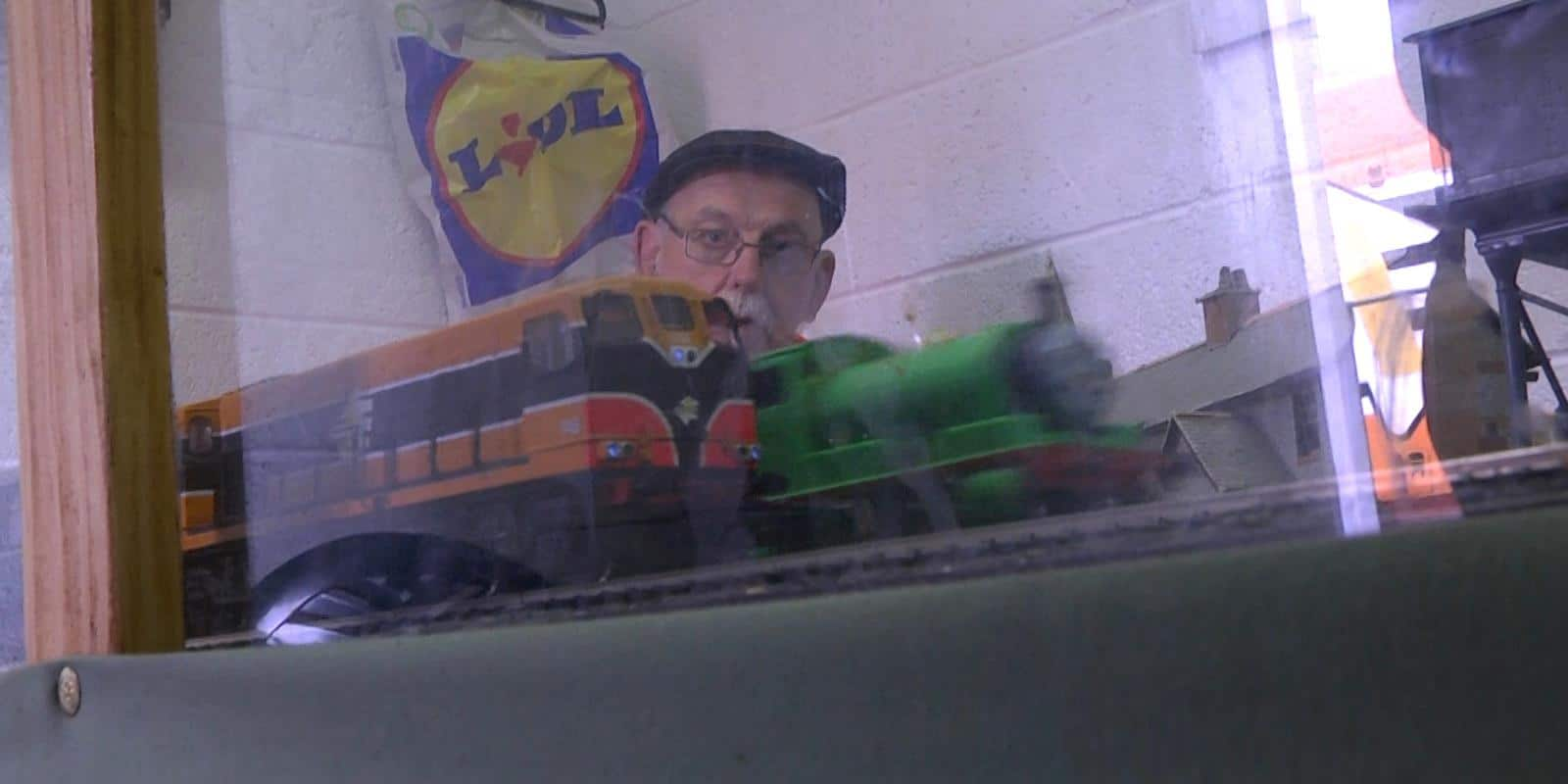 The unlikely sight of Downpatrick-based diesel loco No. 146 being overtaken by 'Percy'!