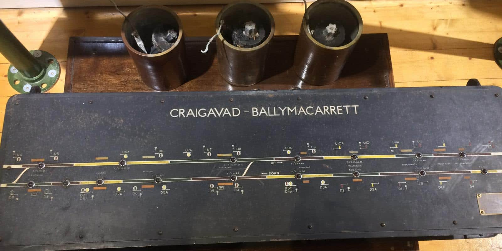 An original signal cabin diagram of a section of the Bangor line