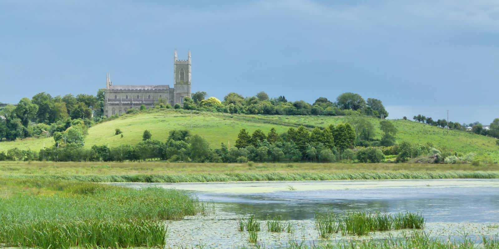The view from Inch Abbey, across the River Quoile and towards Down Cathedral