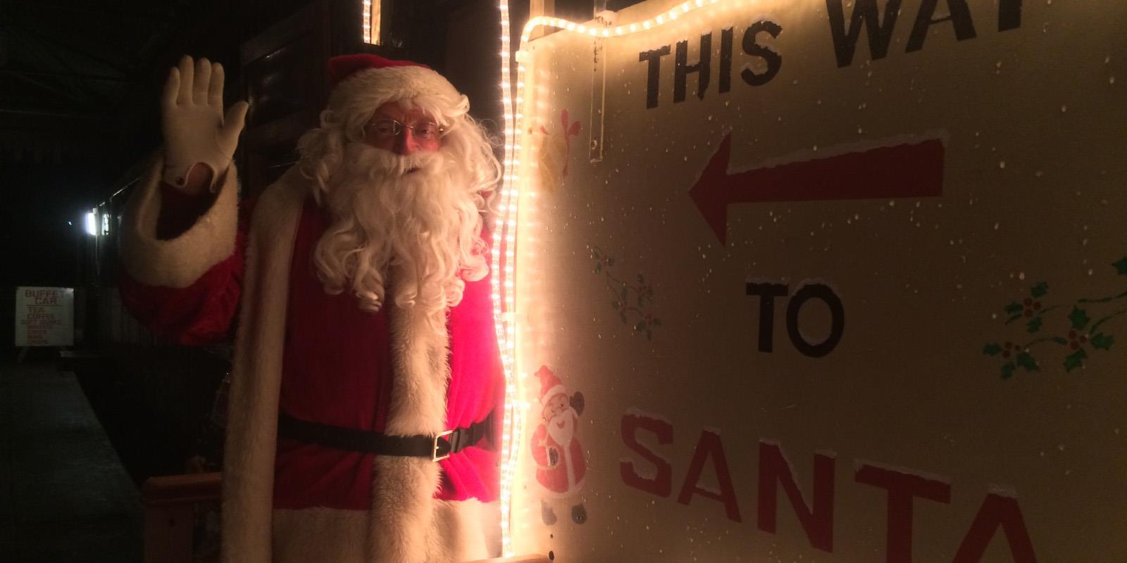 This way to Santa... Santa waits for more visitors to his magic workshop