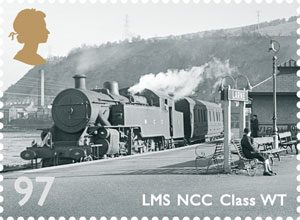 The 97p stamp which features an LMS (Northern Counties Committee) Class WT - Engine No 2 shown here at Larne Town, circa 1947