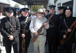 DCDR Chairman Michael Collins looks as if he is about to go on safari with a squad of B-Specials during filming for a new TG4 series