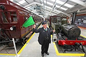 "George Legge a volunteer with Downpatrick & County Down Railway at the launch of their new £700,000 '""Carriage Gallery"" Ireland's only dedicated carriage museum now open to the public."