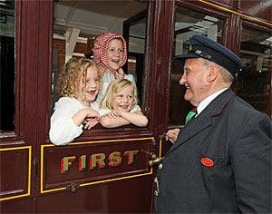 "Coralie, Florence and Ruby Noble talking to George Legge at the launch of the new £700,000 '""Carriage Gallery"""
