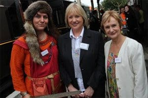 Alison McGrenaghan, Magnus Vikings Association, Una Savage, Down Tourist Officer, and Lesley Simpson, Keeper of Collections at Down County Museum get set to board a train for Inch. Photo (c) Down News