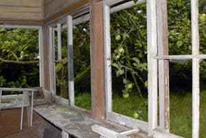 The view from the signal cabin out into the orchard