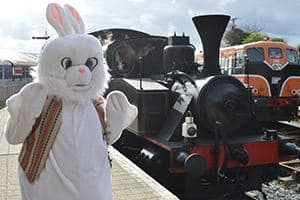 The Easter Bunny LOVES her steam trains!