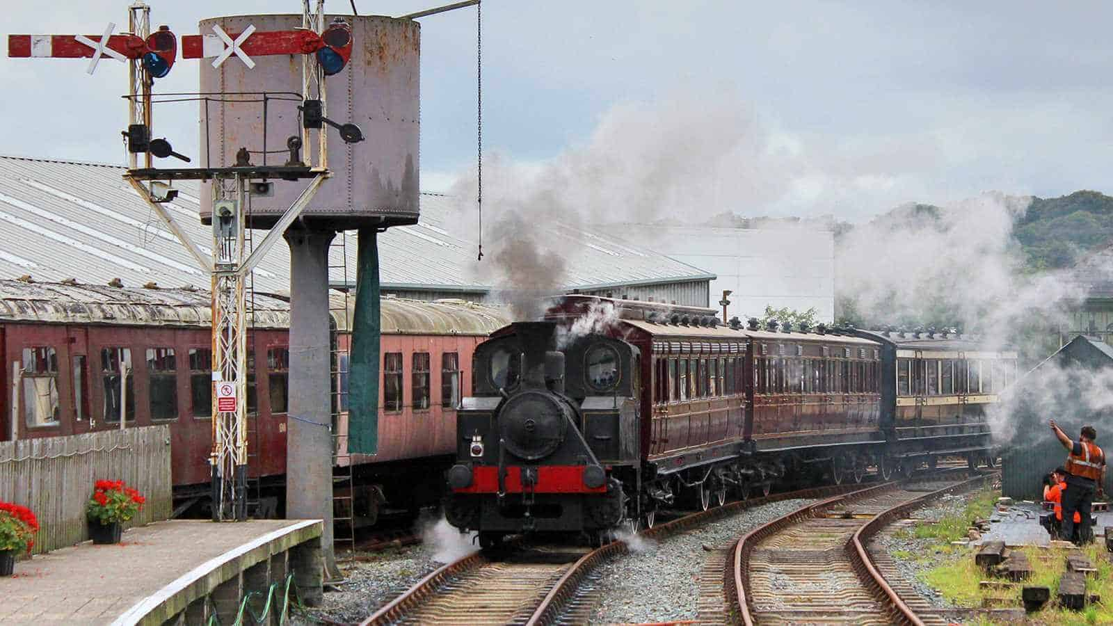 Our steam train pulls into the station in Downpatrick
