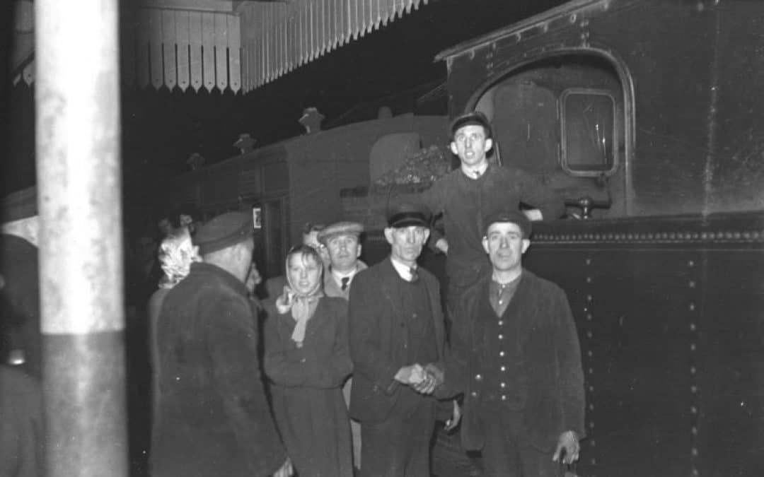 Last Train to Arglass from Downpatrick - J. Hamilton (driver, bottom right), B. Savage (fireman, top, standing), W. Irvine (porter/guard, second from right). J. Hamilton retired in 1981, B. Savage transferred to the UTA buses, retired 1981 as well, W. Irvine moved to England.